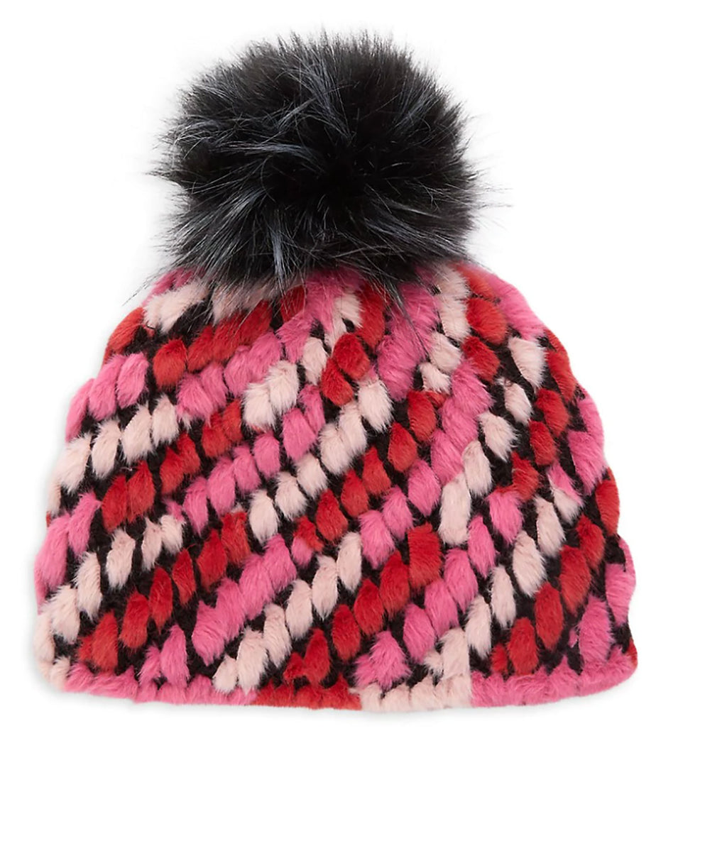 Jocelyn Kids Pink Multi Faux Fur Pineapple Hat