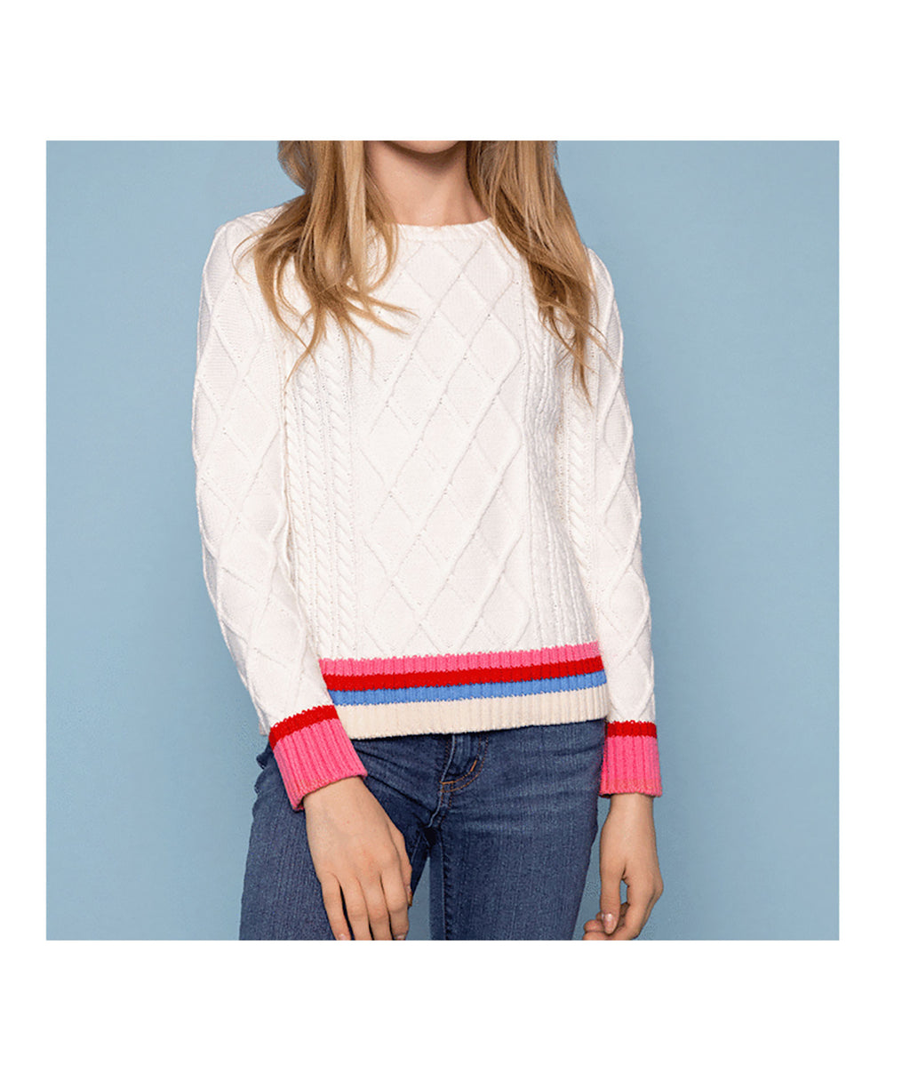 Me.n.u Girls Ivory Cable Knit Sweater