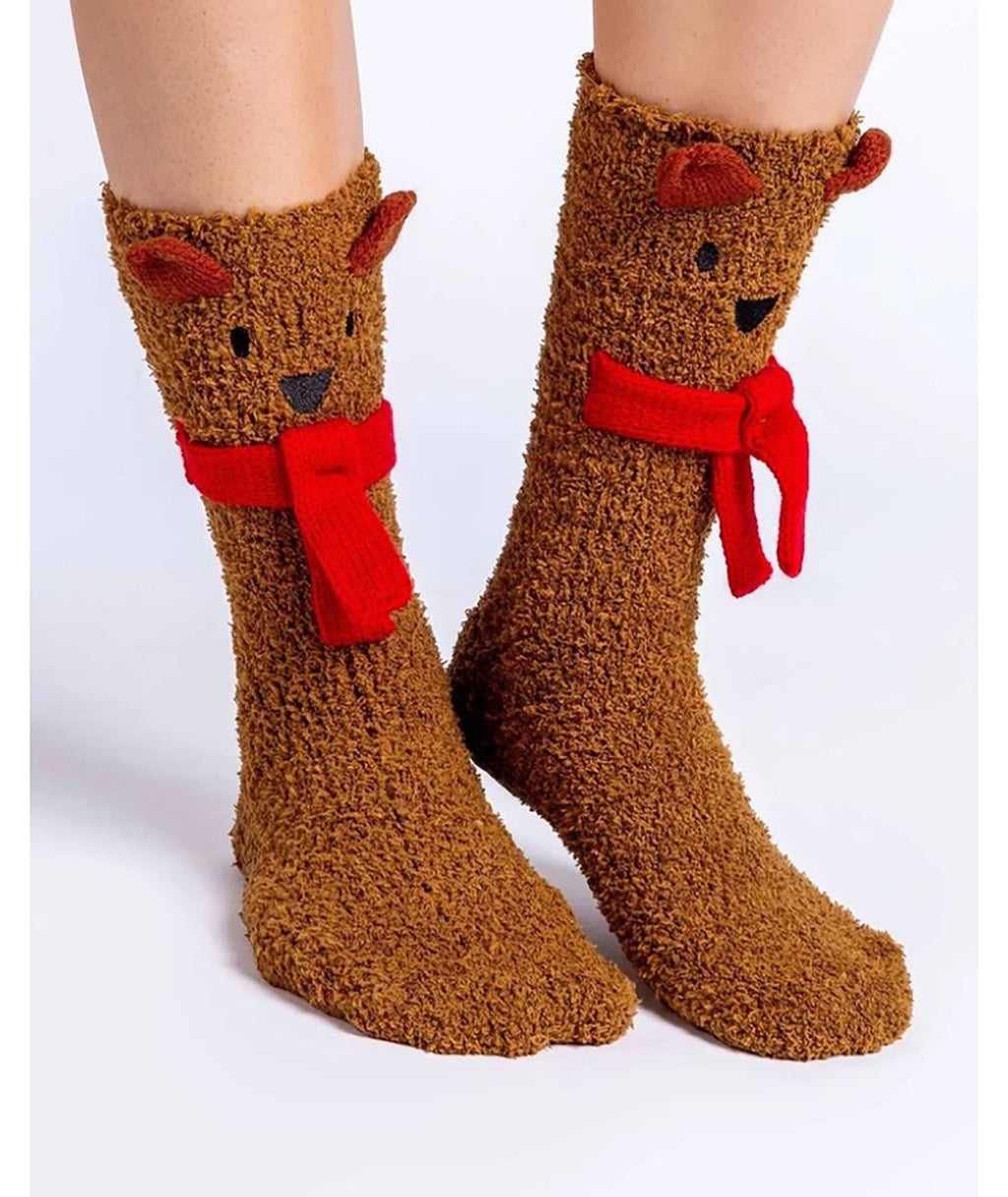 PJ Salvage Cozy Camel Reindeer Socks