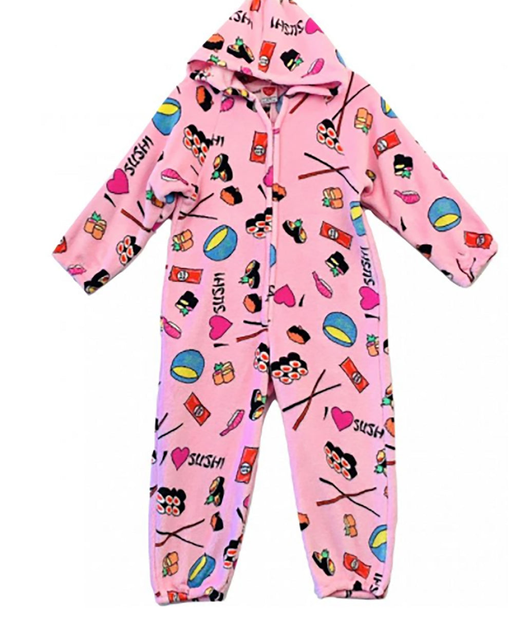 Made with Love and Kisses Pink Sushi Plush Jumpsuit