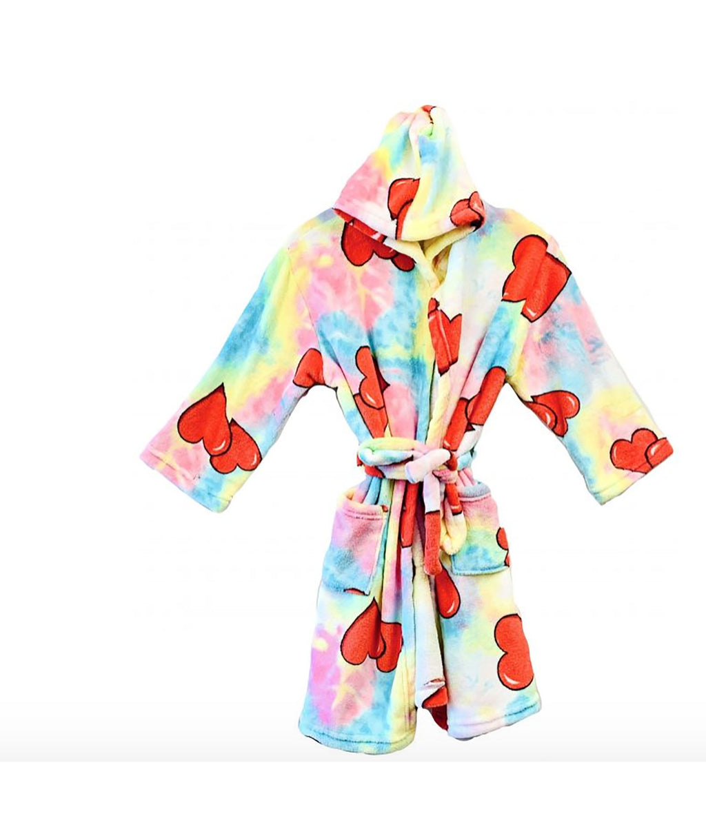Made with Love and Kisses Girls Tie-Dye Heart Robe