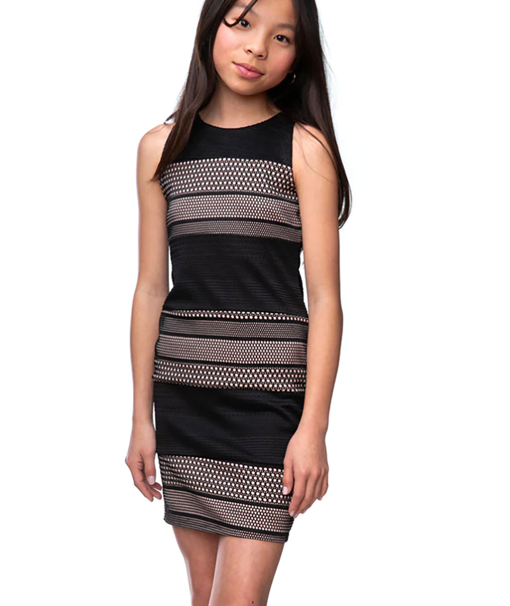 Un Deux Trois Girls Blush Pink and Black Dress