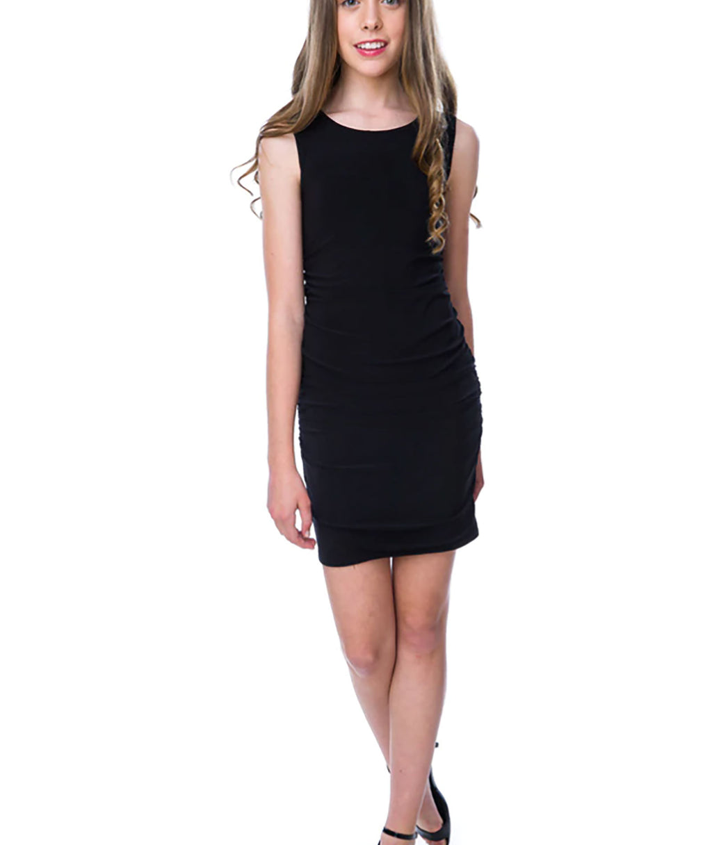 Un Deux Trois Girls Black Ruched Fitted Dress