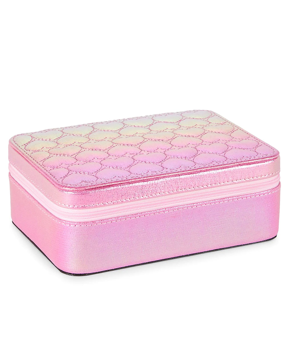 Bari Lynn Iridescent Small Heart Jewelry Box Pink