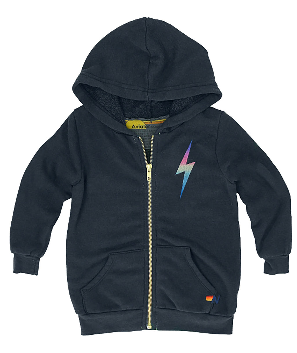 Aviator Nation Girls Charcoal Neon Rainbow Bolt Zip Hoodie