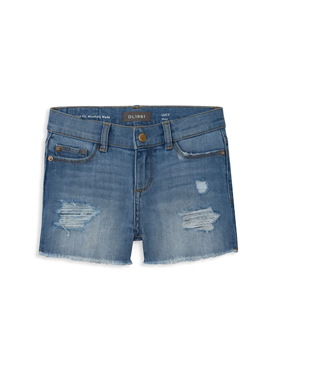 DL1961 Girls Lucy Denim Cut Off Shorts Frost Distressed