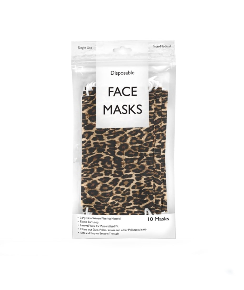 Confetti & Friends 10 Pack Disposable Masks Leopard