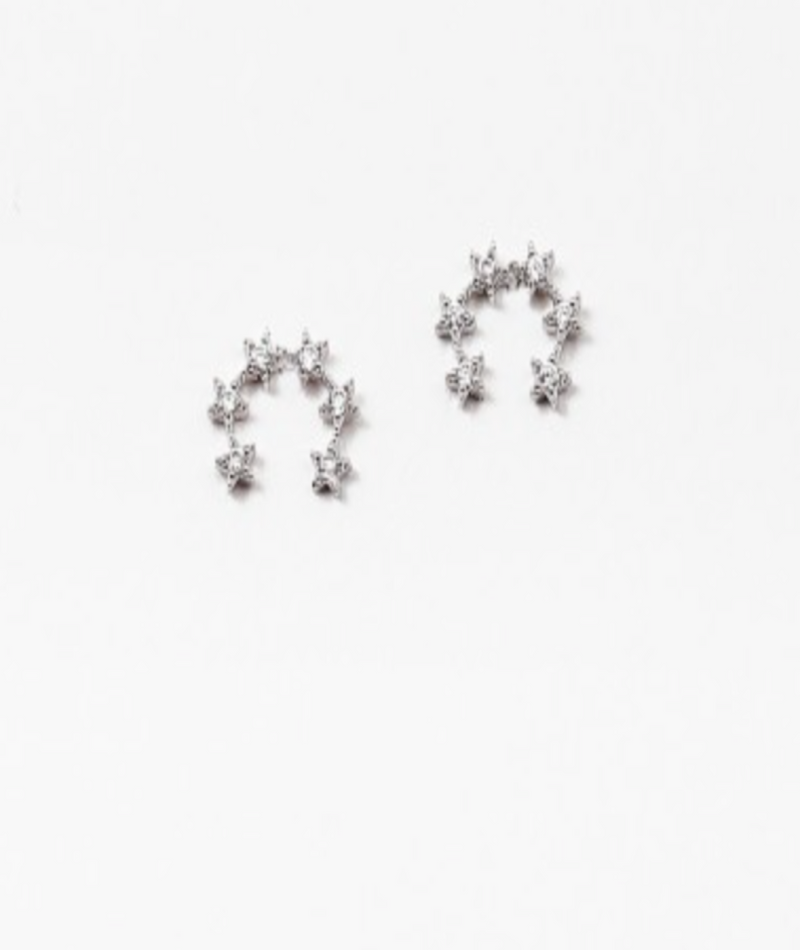 Fashionista J Silver Clear 6 Star Earrings