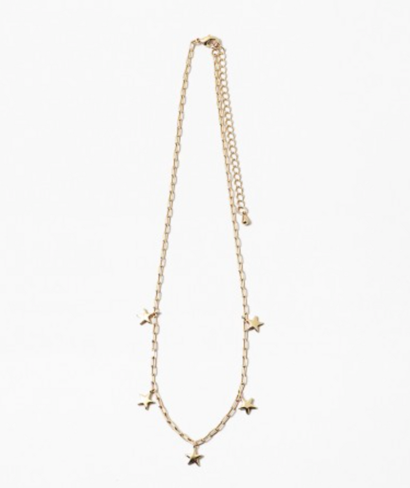Fashionista J Gold Link Star Necklace