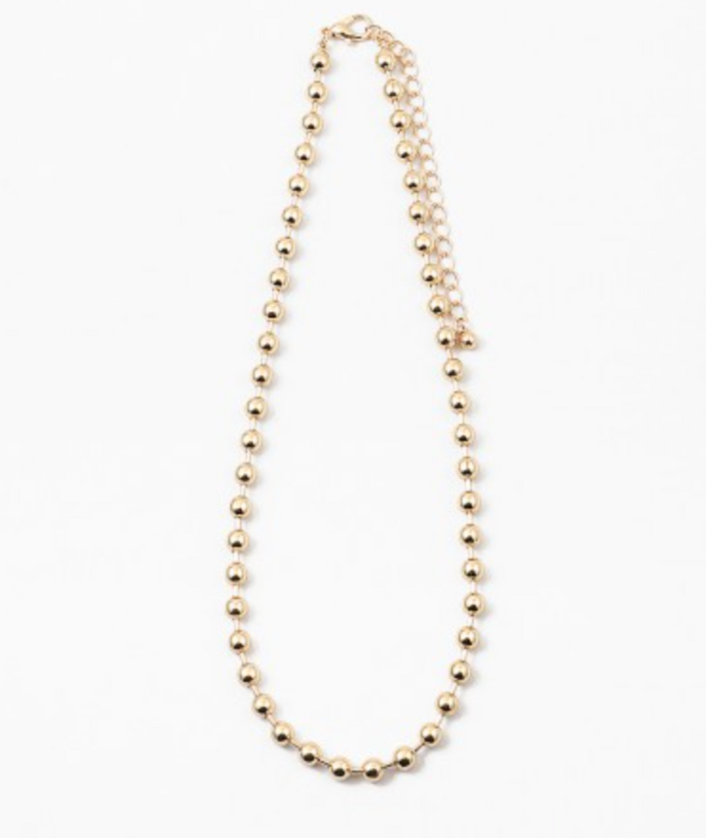 Fashionista J Gold Ball Necklace
