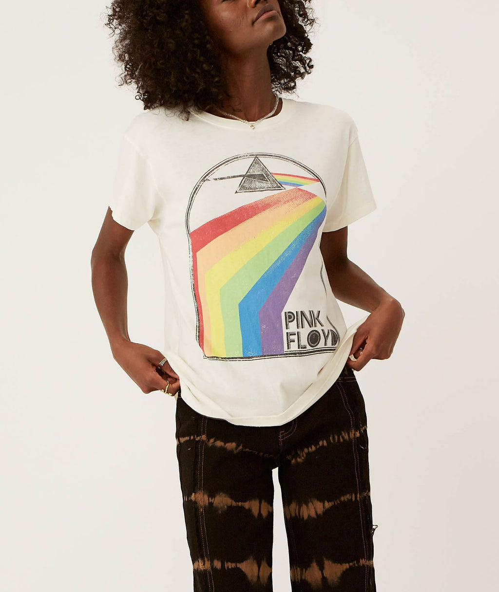 Daydreamer Women Pink Floyd Retro Rainbow Tour Vintage Tee