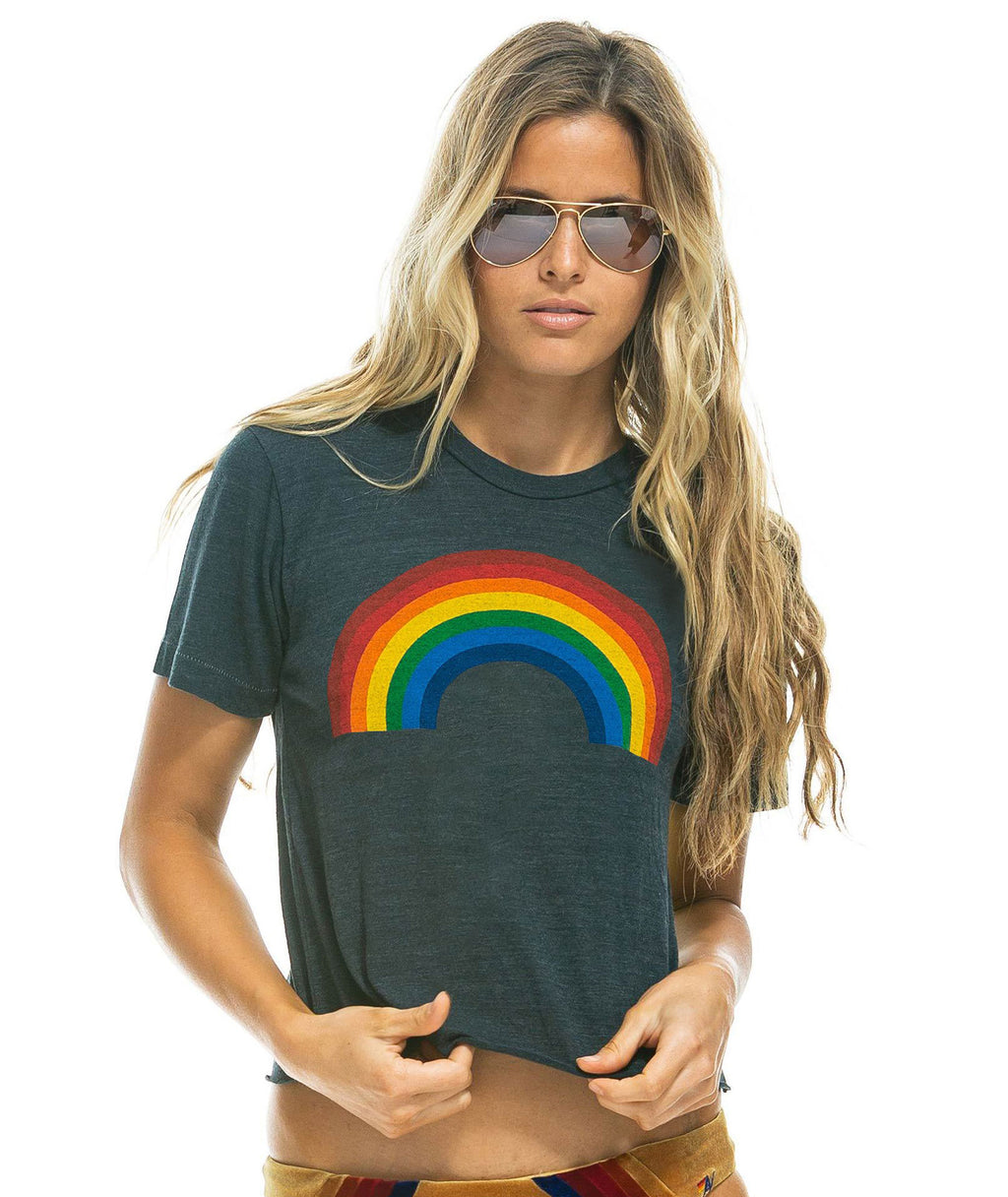 Aviator Nation Women Charcoal Big Rainbow Boyfriend Tee