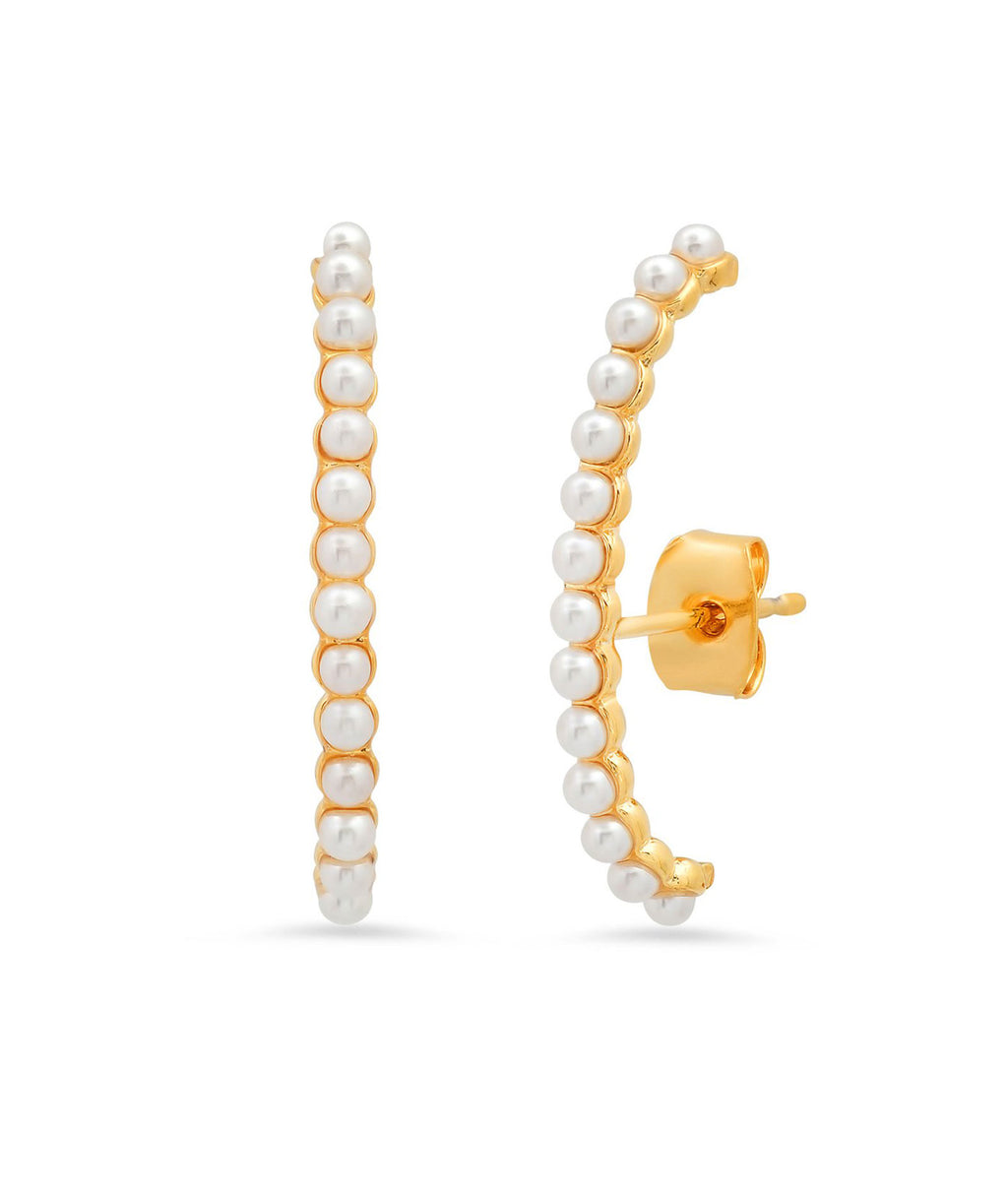 TAI Gold Bar Pearl Cuff Earrings