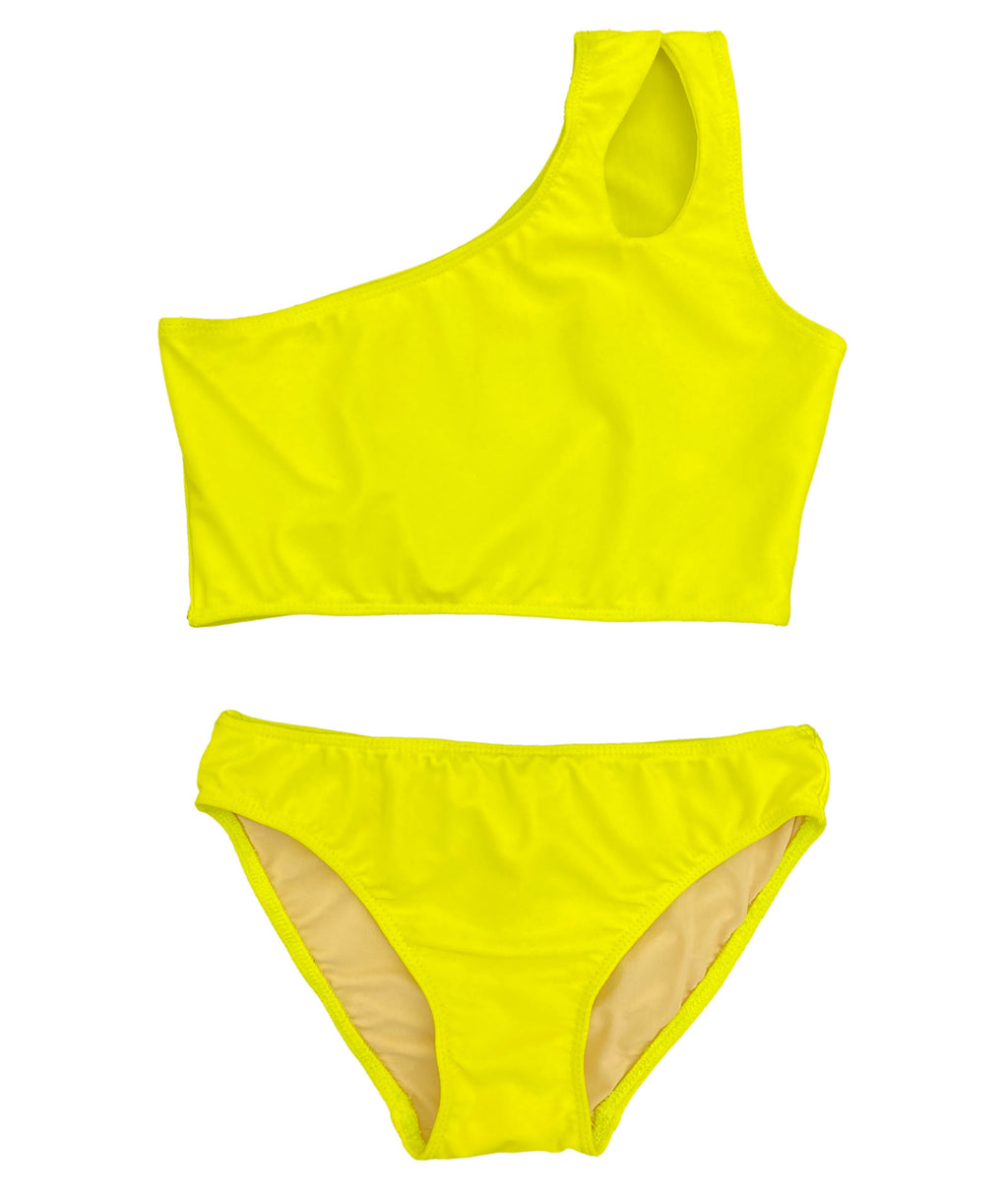 Cheryl Creations Girls Yellow 1-Shoulder Two Piece Bathing Suit