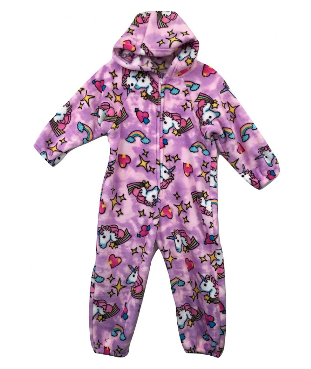 Made with Love and Kisses Girls Pink Unicorn Plush Jumpsuit