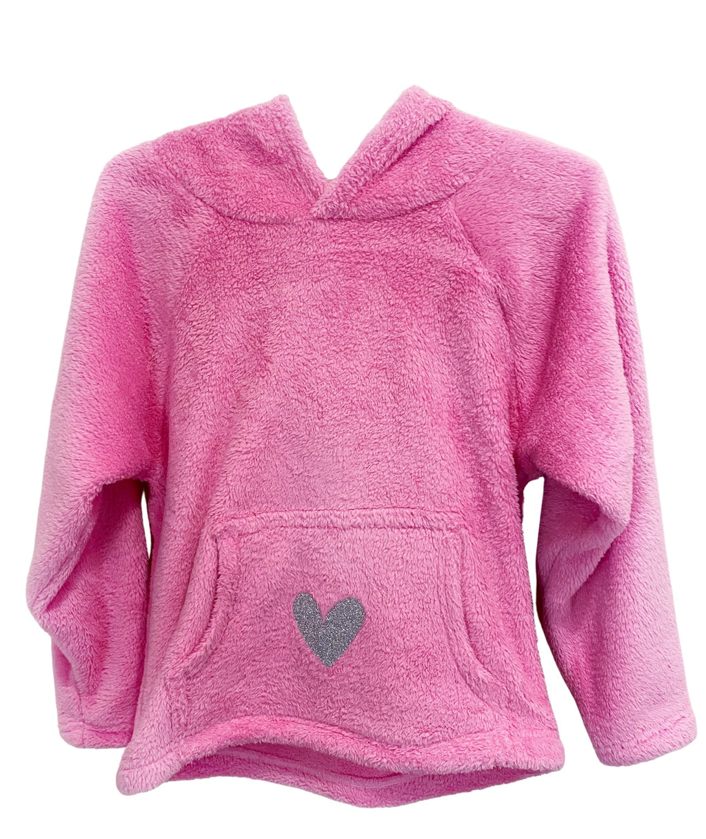 Made with Love and Kisses Girls Pink Silver Heart Hoodie