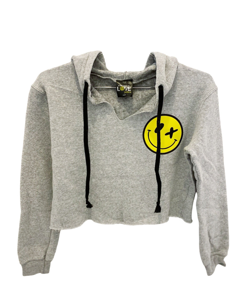 Love Junkie Girls Supersoft Crop Puff Smile Hoodie Heather Grey