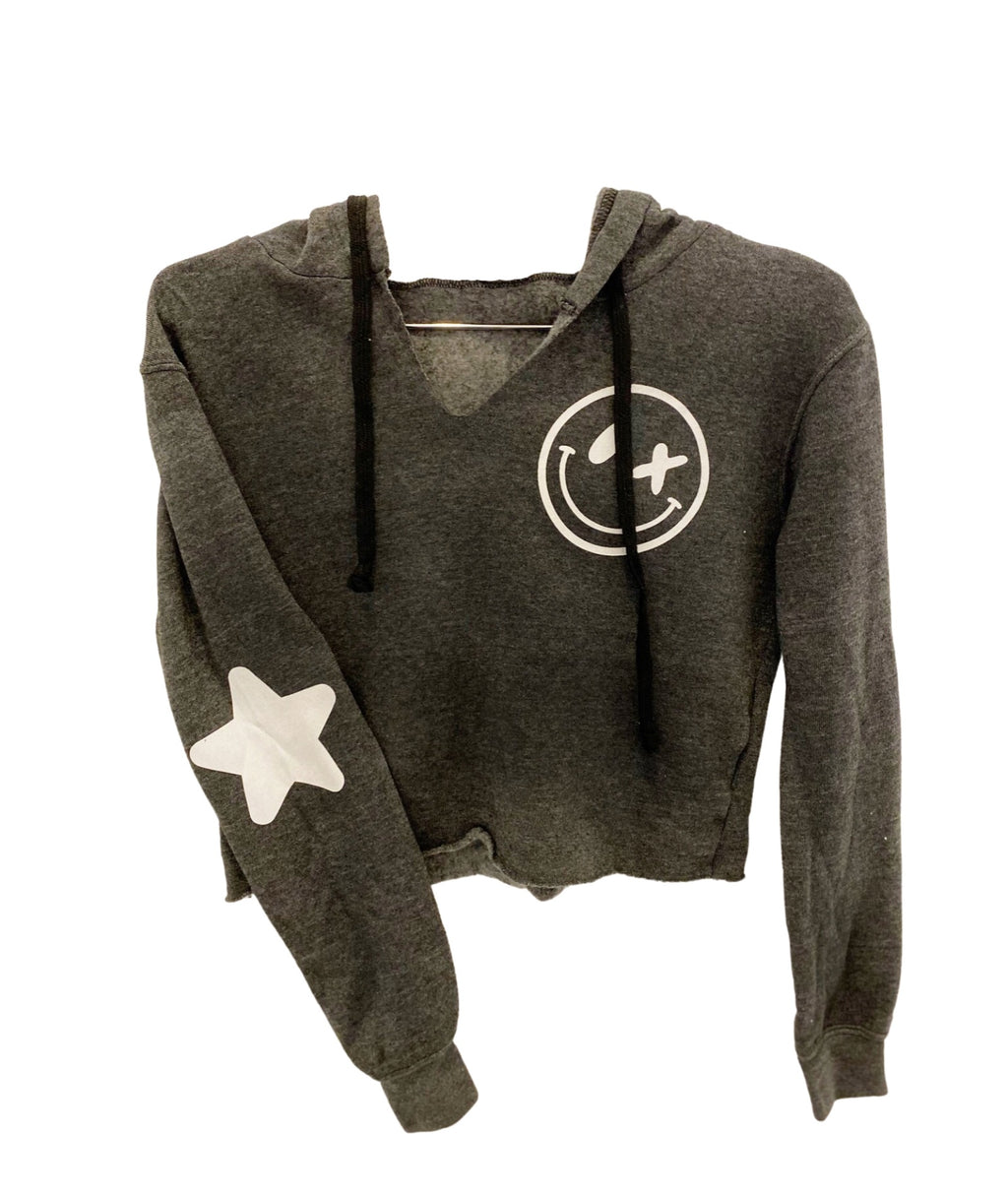 Love Junkie Girls Supersoft Crop Puff Smile Star Hoody Charcoal