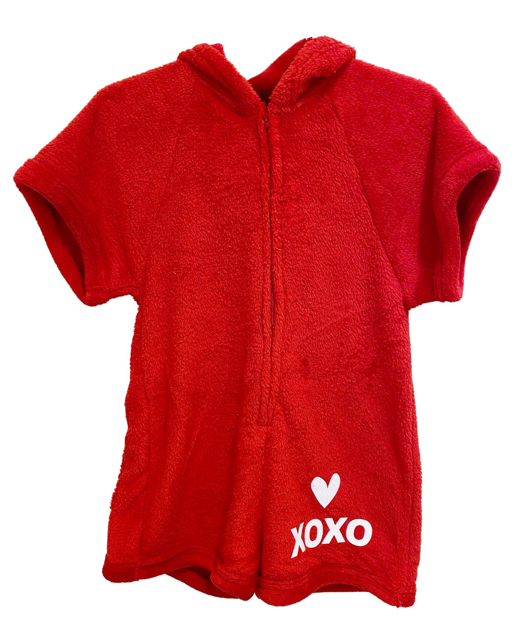 Made with Love and Kisses Girls Red XO Heart Romper