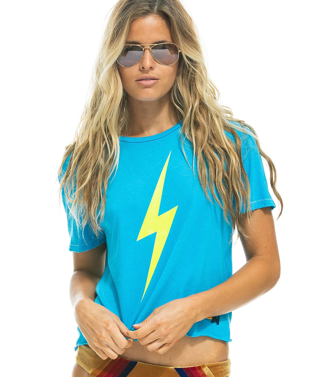 Aviator Nation Women Neon Blue Bolt Boyfriend Tee