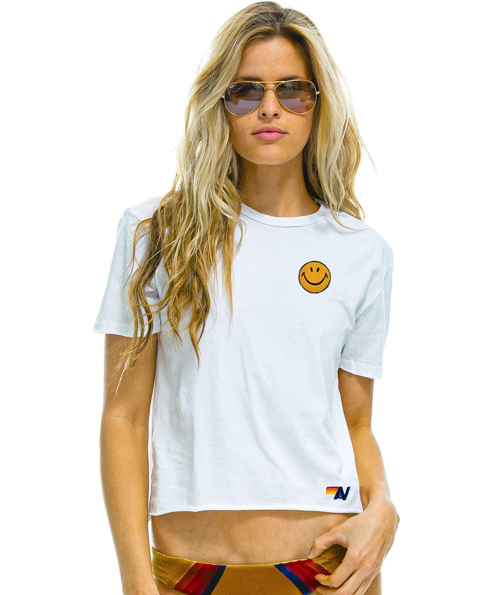 Aviator Nation Women White Embroidered Smiley Boyfriend Tee