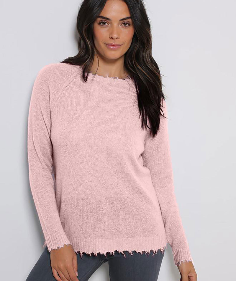 Minnie Rose Women Pink Sand Fray Edge Crew Sweater