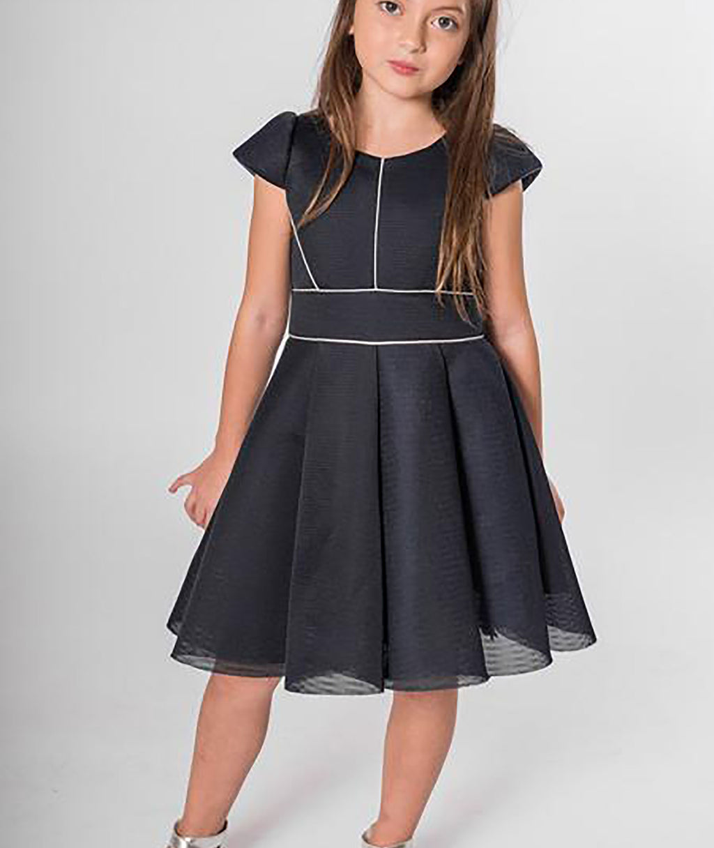 Zoe Ltd. Girls Piper Sleeve Navy Dress