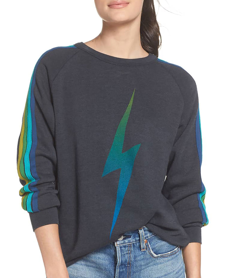Aviator Nation Women Charcoal/Green Bolt Fade Sweatshirt