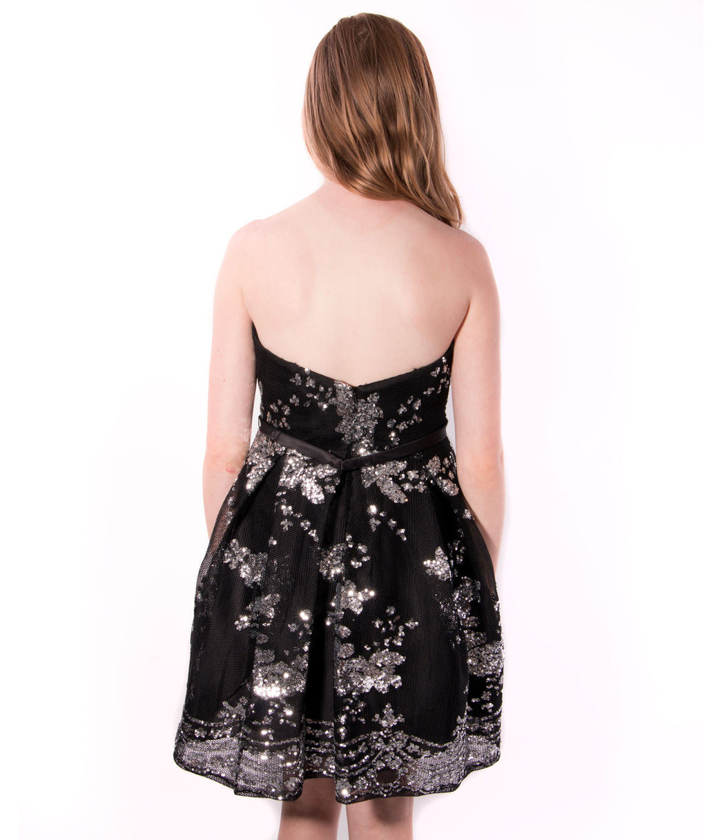 Alyce Women Black Sparkle Rose Dress