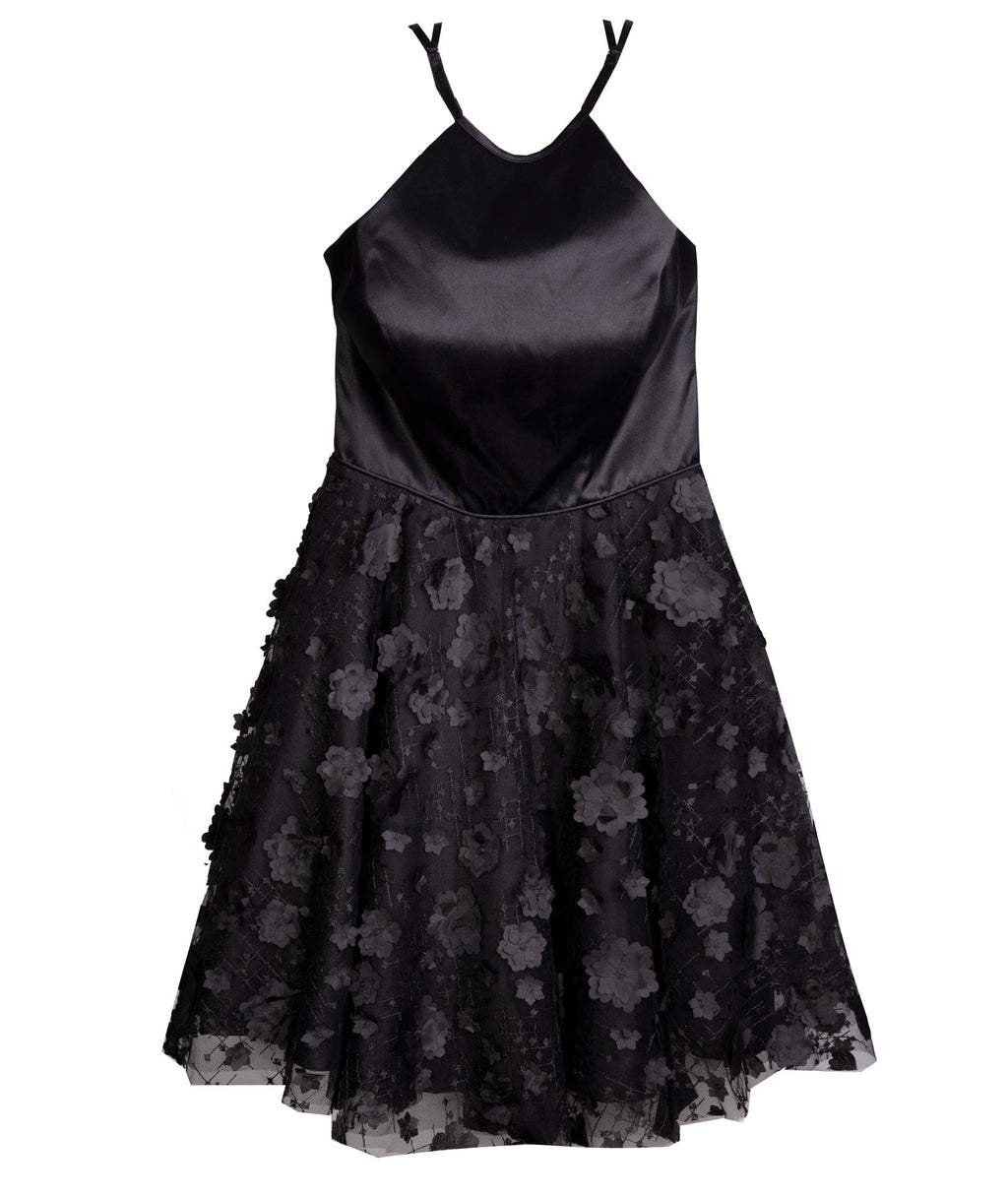 Alyce Women Black Floral Halter Dress