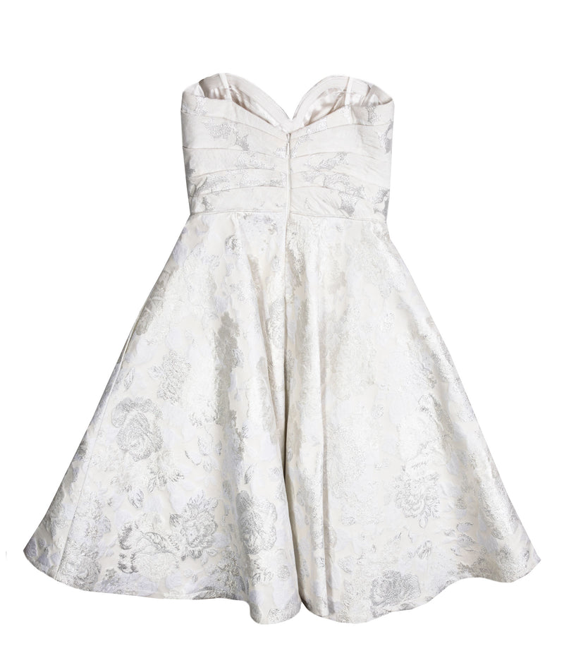 Alyce Women White and Silver Brocade Dress