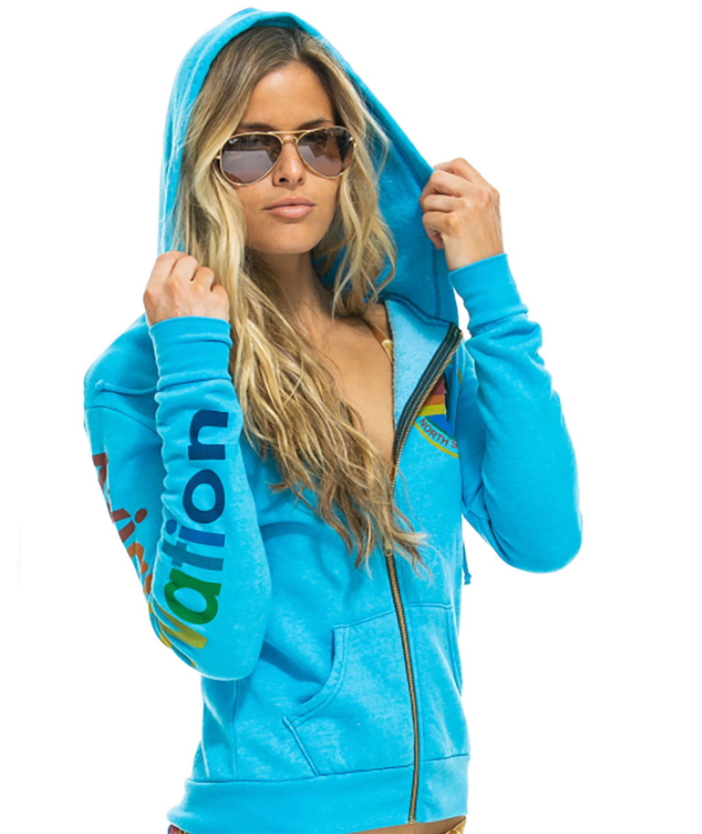 Aviator Nation Women Neon Blue Zip Hoodie