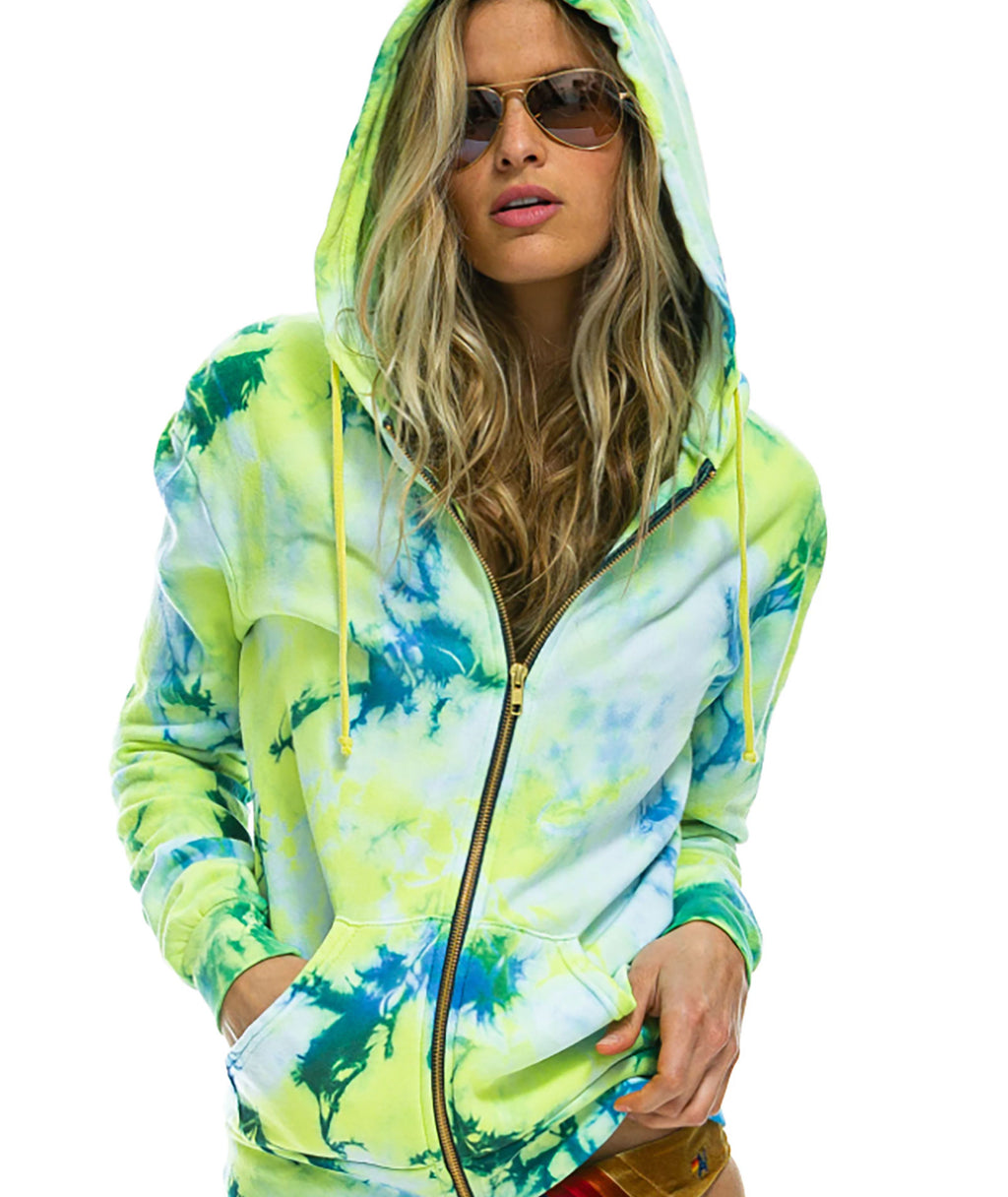 Aviator Nation Women Tie-Dyed Zip Hoodie