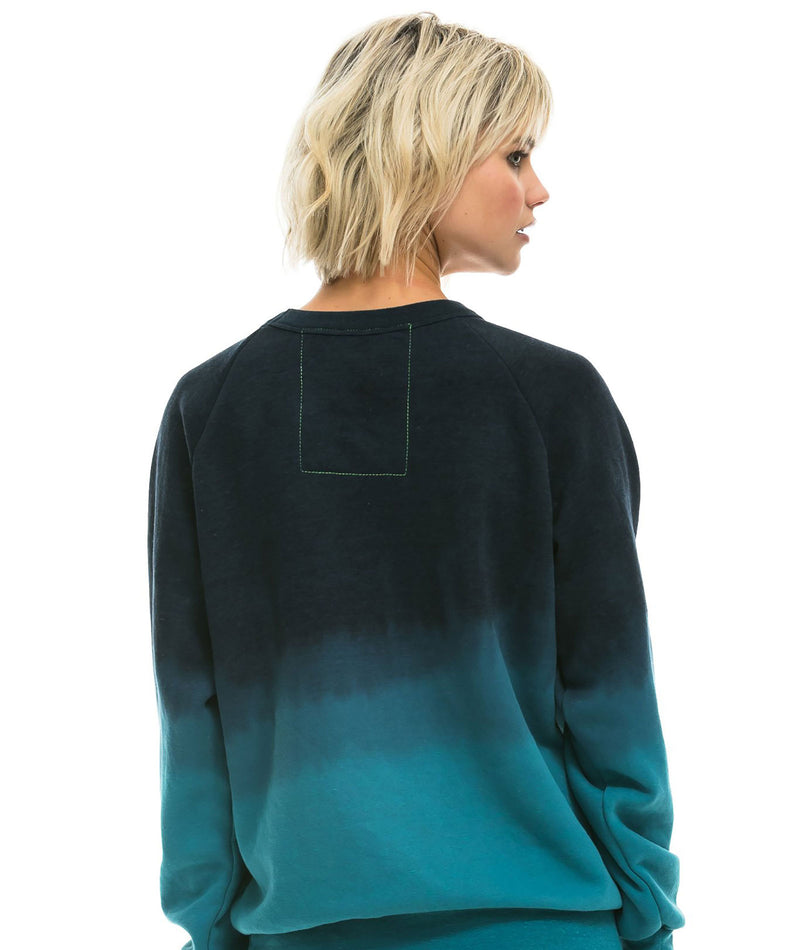 Aviator Nation Women Teal Ombre Rainbow Hoodie