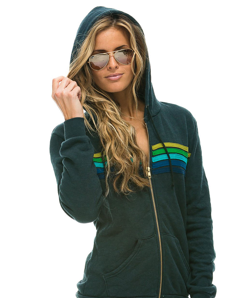 Aviator Nation Women 5 Stripe Vintage Charcoal Green Hoodie
