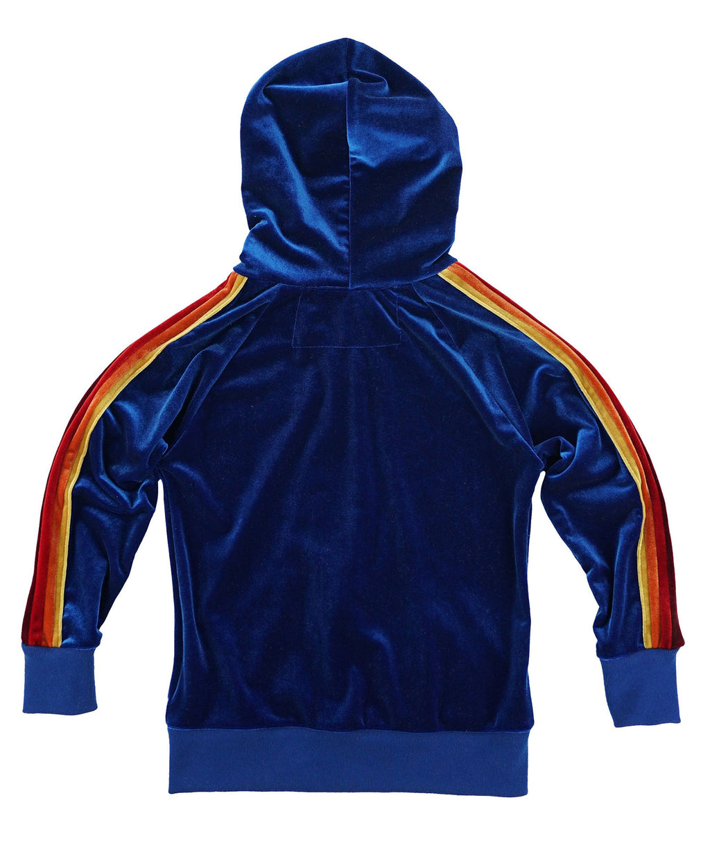 Aviator Nation Girls Classic Royal Blue Velvet Hoodie