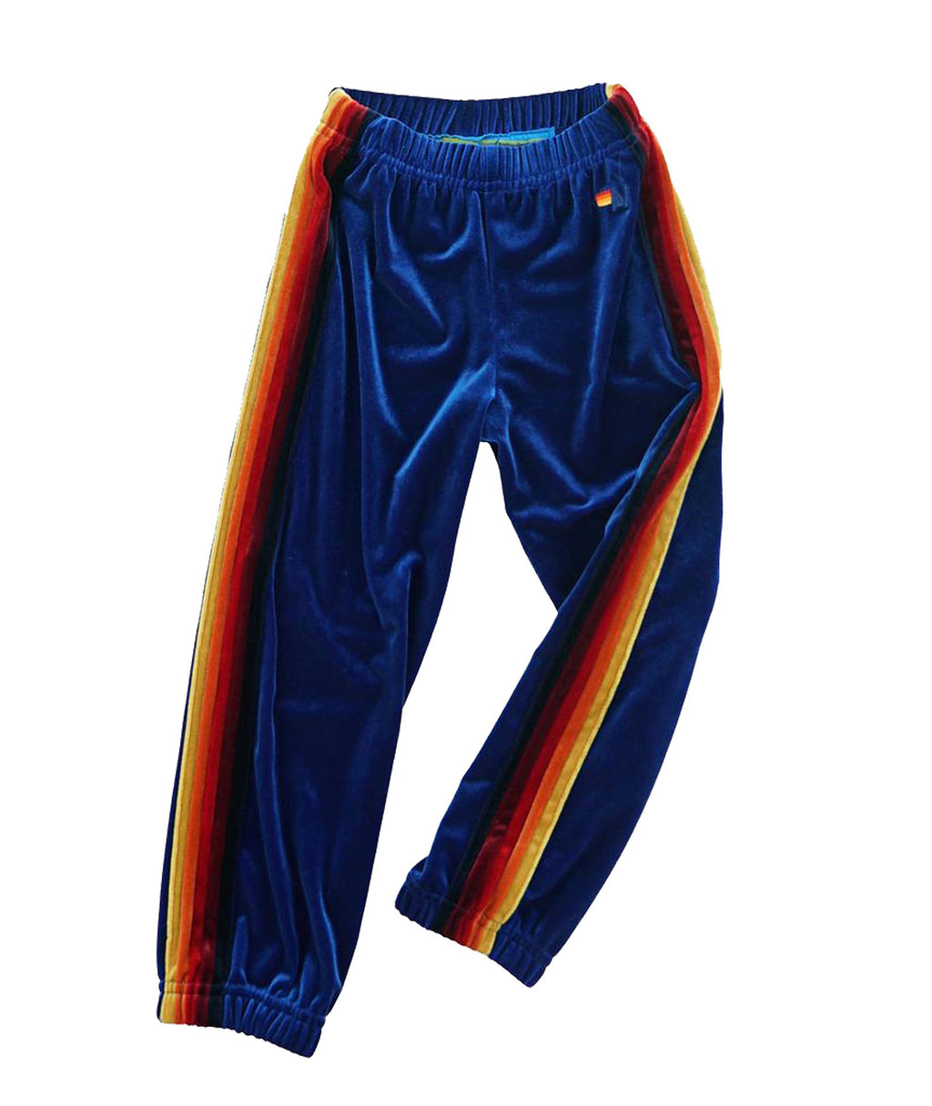 Aviator Nation Girls Classic Royal Blue Velvet Sweatpants