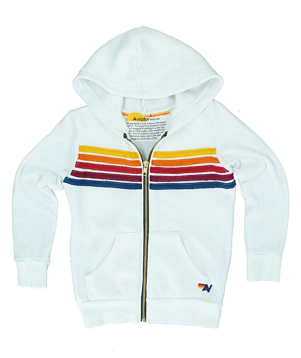 Aviator Nation Girls 5 Stripe White Zip Hoodie - Frankie's on the Park