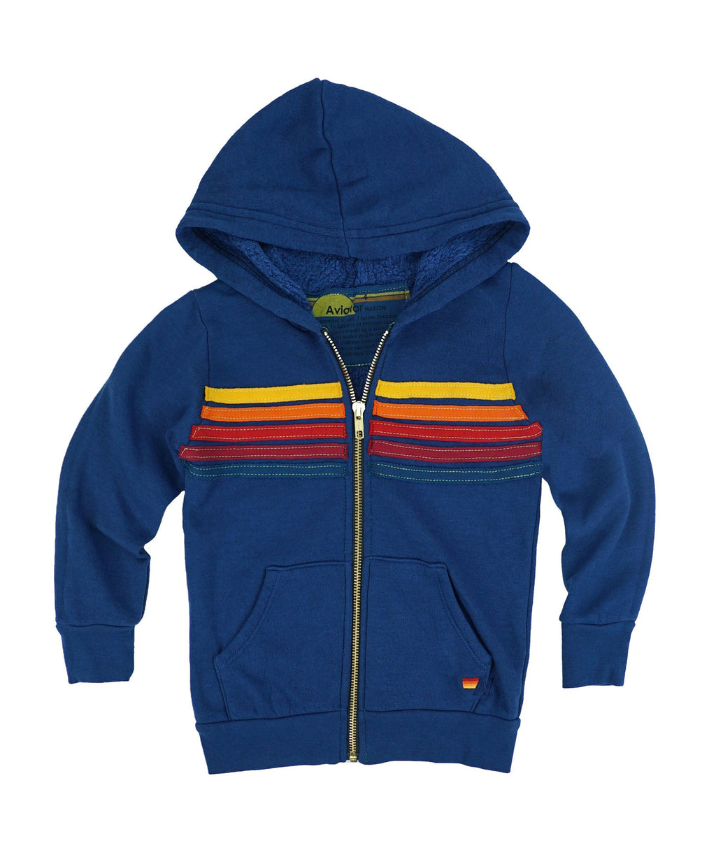 Aviator Nation Girls Royal Blue 5 Stripe Hoodie