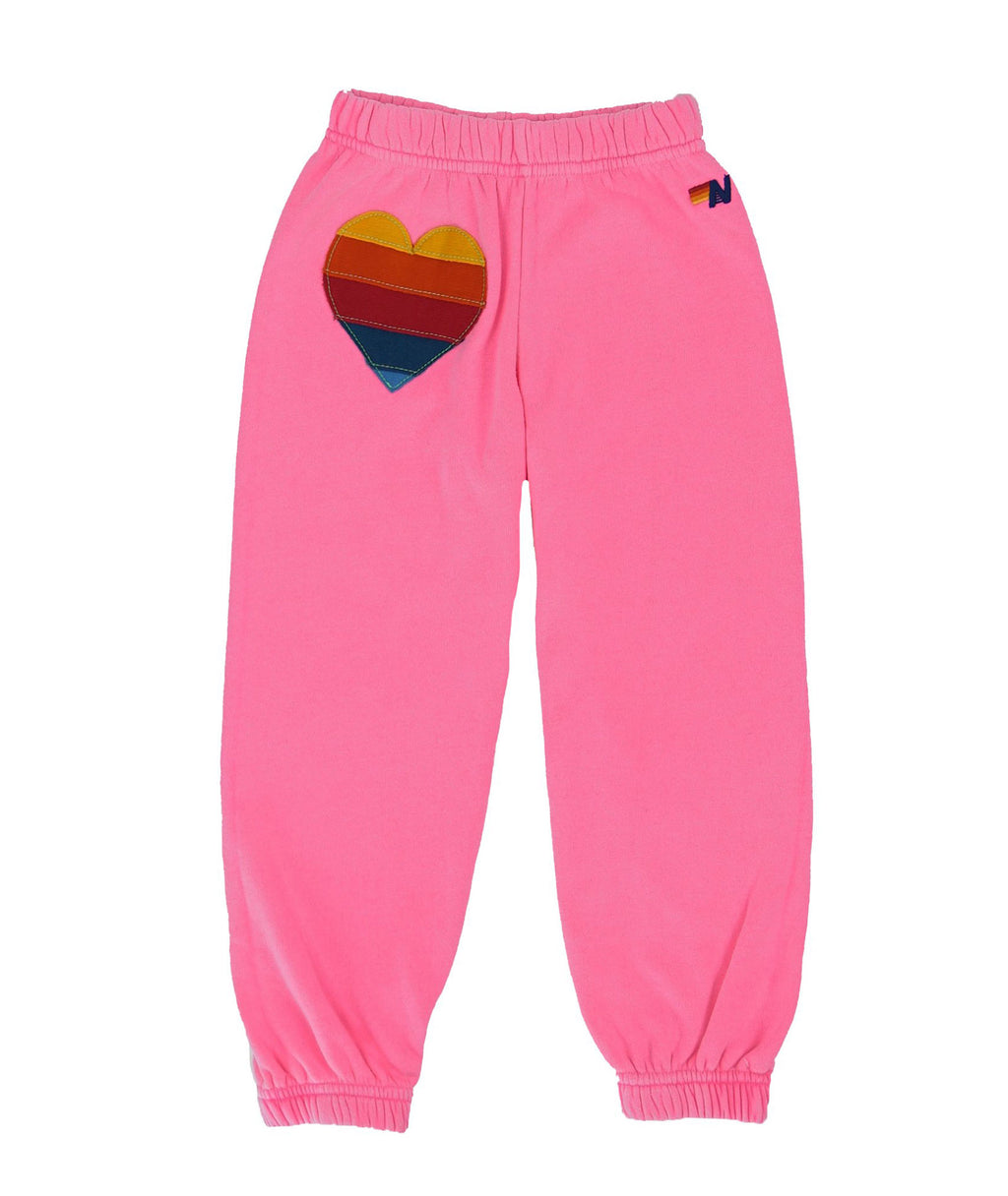 Aviator Nation Girls Hot Pink Heart Sweatpants - Frankie's on the Park