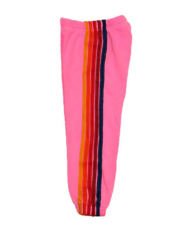 Aviator Nation Girls 5 Stripe Hot Pink Sweatpants
