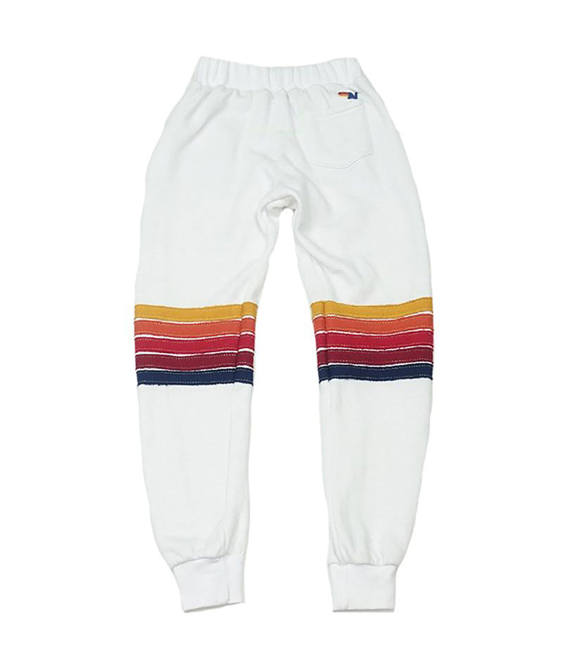 Aviator Nation Girls 5 Stripe White Sweatpants - Frankie's on the Park