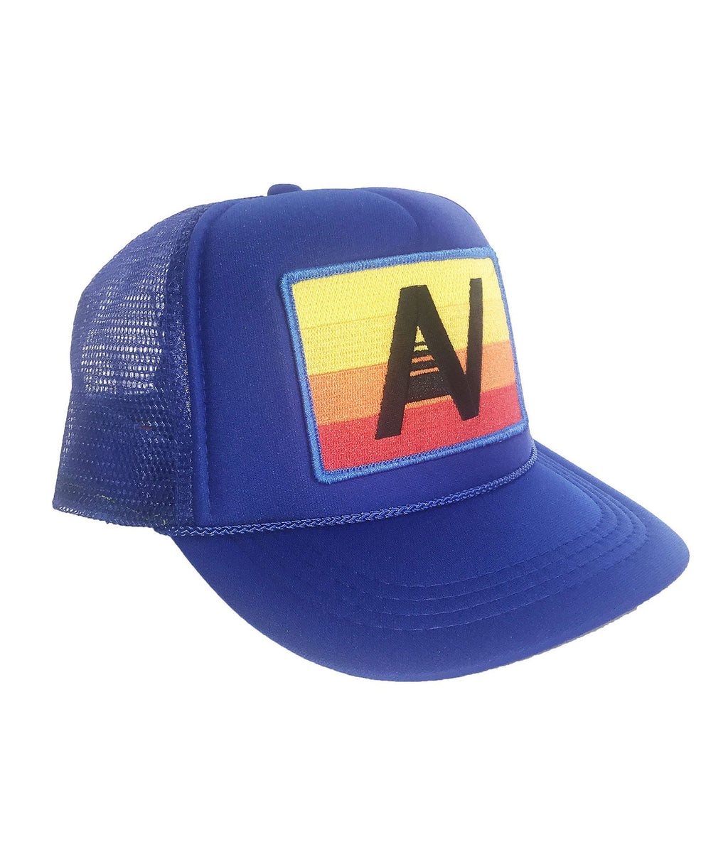 Aviator Nation Trucker Hat Royal Blue Rainbow Logo