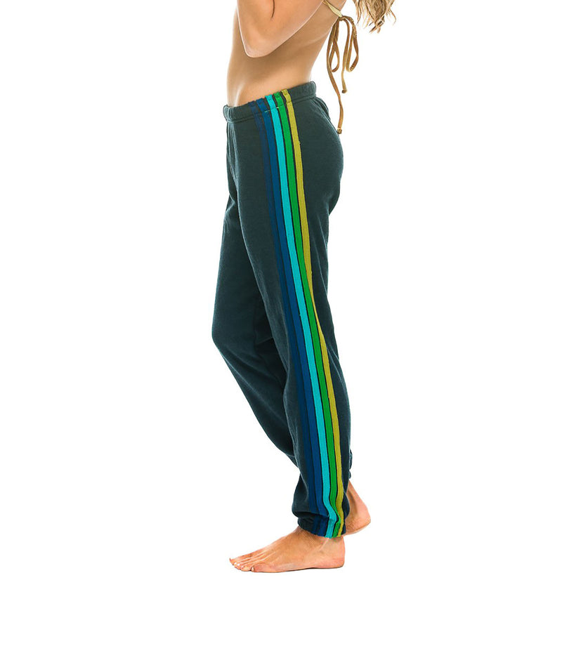 Aviator Nation Women 5 Stripe Charcoal Green Sweatpants