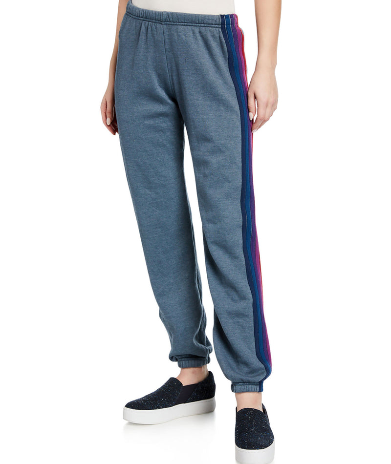 Aviator Nation Women 5 Stripe Slate/Purple Sweatpants