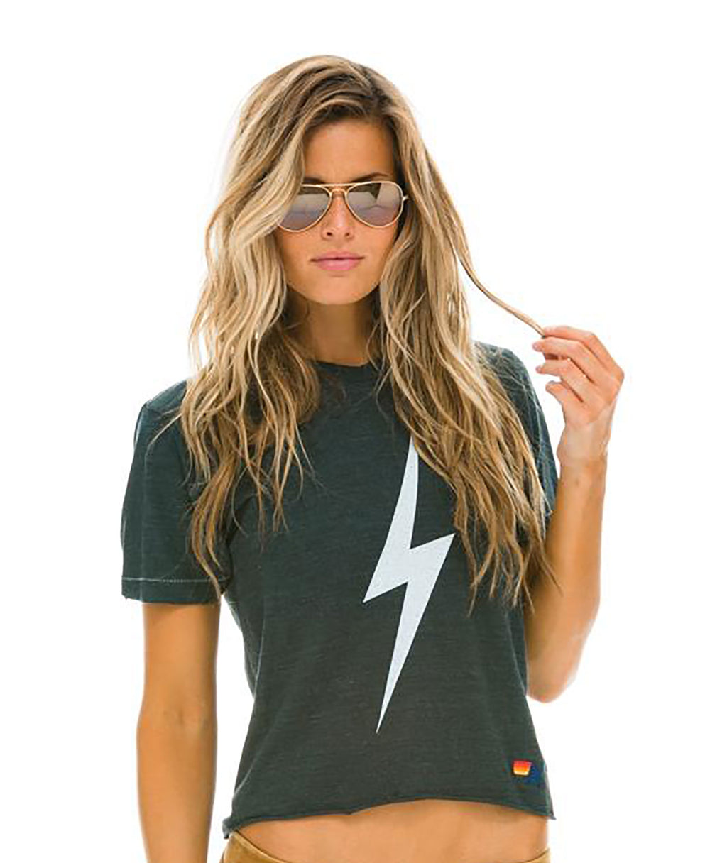 Aviator Nation Women Bolt Charcoal Tee