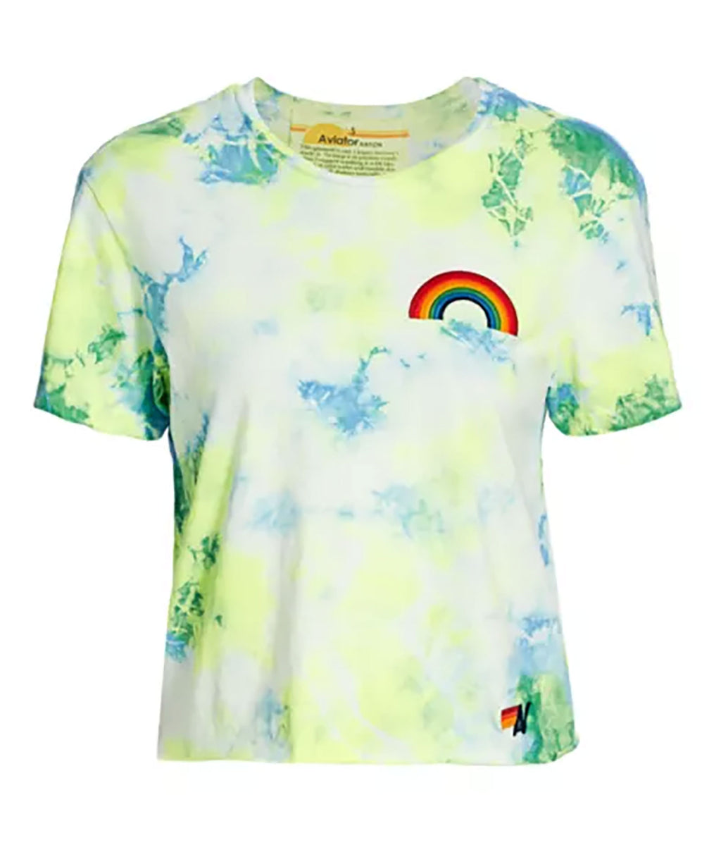Aviator Nation Women Neon Yellow Tie-Dye Tee