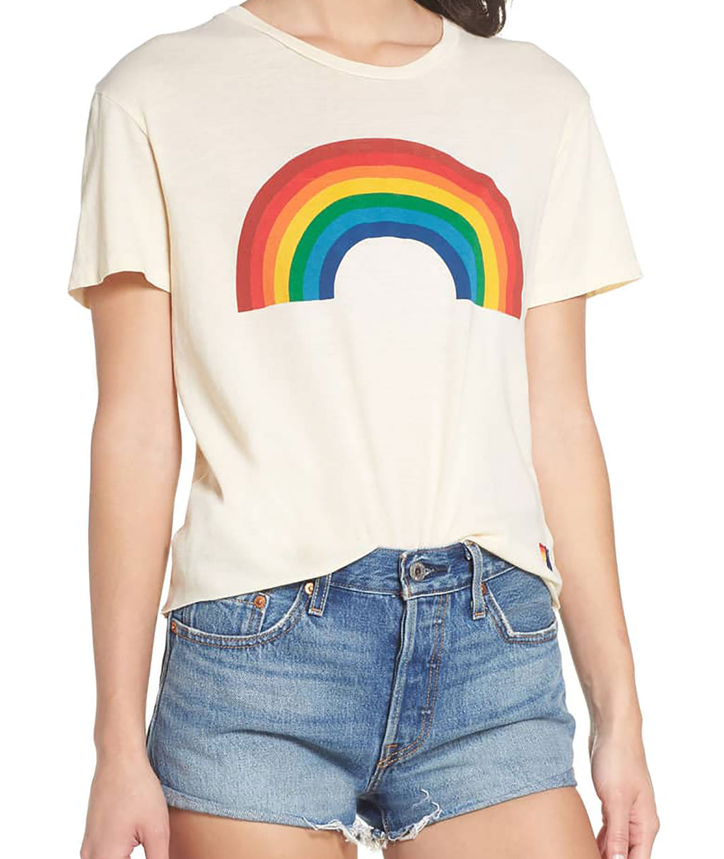 Aviator Nation Women White Rainbow Cropped Tee