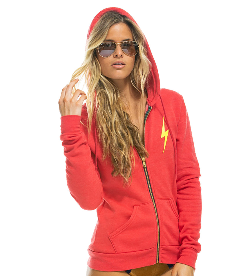 Aviator Nation Women Neon Red Bolt Hoodie