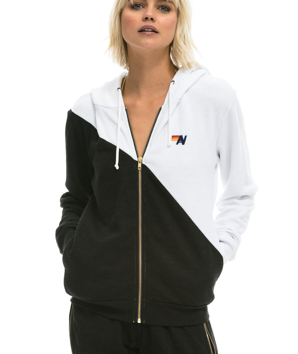 Aviator Nation Women White & Black Glider Zip Hoodie